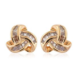 Auction of The Month - Natural Champagne Diamond (Bgt) Triple Knot Stud Earrings (with Push Back) in 14K Gold Overlay Sterling Silver 0.250 Ct.