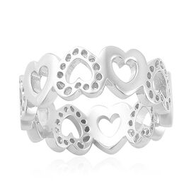 RACHEL GALLEY Rhodium Plated Sterling Silver Continual Heart Ring, Silver wt 4.34 Gms.
