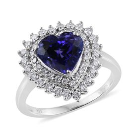 ILIANA 18K White Gold 3.50 Carat AAA Tanzanite Heart Engagement Ring With Diamond SI G-H