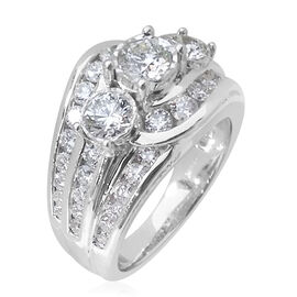 Limited Edition- JCK Vegas Close Out Deal AGI Certified Diamond (G to H Colour, SI Clarity) 14K W Gold Ring, Centre Diamond 0.50 Ct, Total Diamond Wt. 2.000  Ct. Gold Wt 8.30 gms, Size N
