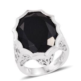Australian Black Tourmaline (Ovl) Ring in Platinum Overlay Sterling Silver 19.250 Ct.