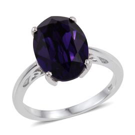 J Francis Crystal from Swarovski - Purple Velvet (Ovl) Solitaire Ring in Platinum Overlay Sterling Silver