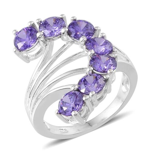 Simulated Tanzanite: AAA Simulated Tanzanite (Rnd) 7 Stone Ring In Sterling