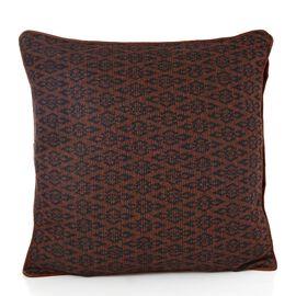 Brown Colour Jacquard Woolen Cushion (Size 43x43 Cm)