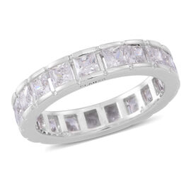 ELANZA AAA Simulated White Diamond (Sqr) Full Eternity Ring in Rhodium Plated Sterling Silver