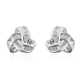 Auction of The Month - Diamond (Bgt) Triple Knot Stud Earrings (with Push Back) in Platinum Overlay Sterling Silver 0.250 Ct.