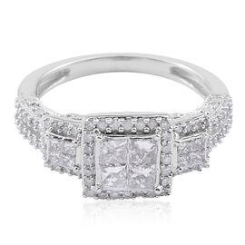 New York Close Out Deal 9K W Gold Diamond (Princess Cut) Ring 1.000 Ct.
