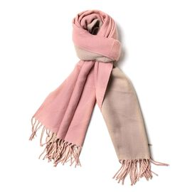 Pink and Khaki Colour Reversible Scarf with Tassels (Size 180x63 Cm)