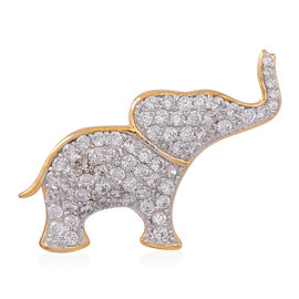 ELANZA AAA Simulated White Diamond (Rnd) Elephant Pendant in 14K Gold Overlay Sterling Silver