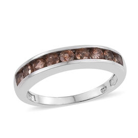 Jenipapo Andalusite (Rnd) Half Eternity Band Ring in Platinum Overlay Sterling Silver 1.000 Ct.