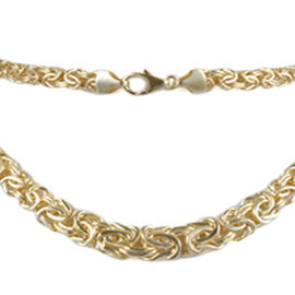 JCK Vegas Collection 9K Yellow Gold Graduated Byzantine Necklace (Size 20), Gold Wt. 15.00 Gms.