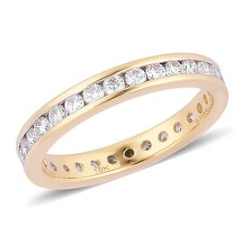 One Off ILIANA 18K Y Gold IGI Certified Diamond (Rnd) (SI/ G-H) Full Eternity Band Ring 1.000 Ct.