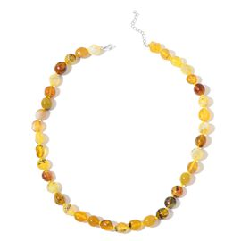 Tanzanian Yellow Opal Necklace (Size 18 with 2 inch Extender) in Rhodium Plated Sterling Silver 115.00 Ct.