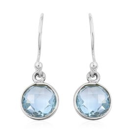 One Time Deal - Sky Blue Topaz (Rnd) Hook Earrings in Sterling Silver 4.75 Ct.