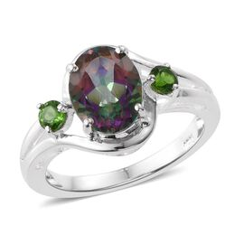 Northern Lights Mystic Topaz (Ovl 2.00 Ct), Russian Diopside Ring in Sterling Silver 2.250 Ct.