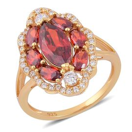 ELANZA AAA Simulated Garnet and Simulated White Diamond Ring in Yellow Gold Overlay Sterling Silver