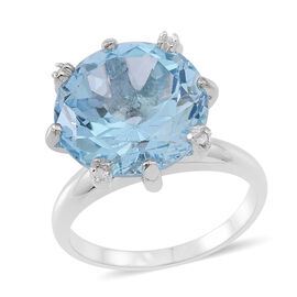 Sky Blue Topaz (14.95 Ct) and Diamond Sterling Silver Ring  15.000  Ct.