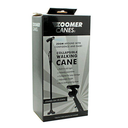 Zoomer Collapsible Walking Cane Black Tjc