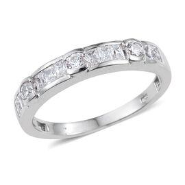 J Francis - Platinum Overlay Sterling Silver (Rnd) Half Eternity Ring Made with SWAROVSKI ZIRCONIA