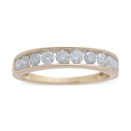 9K Yellow Gold SGL Certified Diamond (Rnd) (I3/G-H) Half Eternity Band Ring 1.000 Ct.