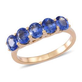 ILIANA 18K Y Gold AAAA Very Rare Ceylon Sapphire (Ovl) 5 Stone Ring 2.500 Ct.