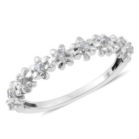 Diamond (Rnd) Stackable Floral Half Eternity Ring in Platinum Overlay Sterling Silver 0.100 Ct.