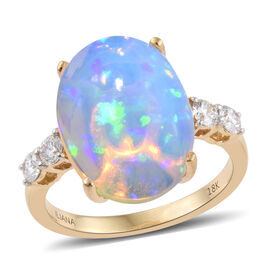 ILIANA 18K Y Gold Ethiopian Welo Opal (Ovl 8.25 Ct), Diamond Ring 8.650 Ct.