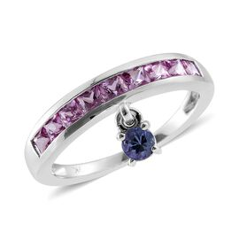 9K White Gold 1.25 Carat AA Pink Sapphire Square, AA Tanzanite Charm Ring