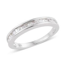Diamond (Bgt) Half Eternity Band Ring in Platinum Overlay Sterling Silver 0.330 Ct.