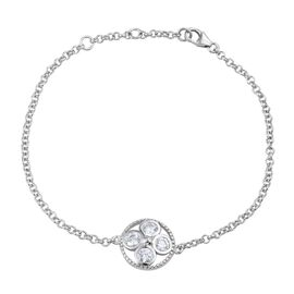 J Francis - Platinum Overlay Sterling Silver (Rnd) Bracelet (Size 7.5 with Extender) Made with SWAROVSKI ZIRCONIA