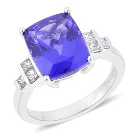 RHAPSODY 950 Platinum AAAA Tanzanite (Cush 6.25 Ct), Diamond (VS/E-F) Ring 6.500 Ct.