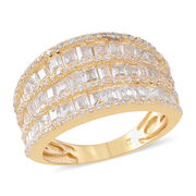 ELANZA AAA Simulated White Diamond (Sqr) Ring in Yellow Gold Overlay Sterling Silver