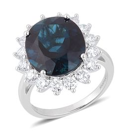 RHAPSODY 950 Platinum AAAA Very Rare Monte Belo Indicolite (Ovl 9.00 Ct), Diamond (VVS/E-F) Ring 10.500 Ct.
