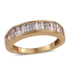 AA Natural Cambodian Zircon (Bgt) Half Eternity Band Ring in 14K Gold Overlay Sterling Silver 2.500 Ct.