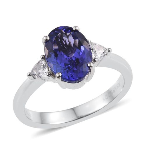 RHAPSODY 950 Platinum 3 Carat AAAA Tanzanite Oval Diamond VS E F Ring