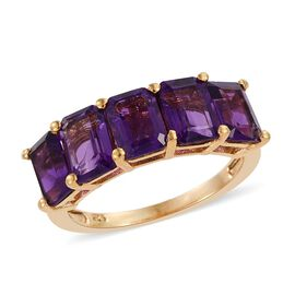 Lusaka Amethyst (Oct) 5 Stone Ring in 14K Gold Overlay Sterling Silver 4.000 Ct.