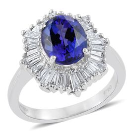 RHAPSODY 950 Platinum AAAA Tanzanite (Ovl 2.20 Ct), Diamond (VS/E-F) Ring 3.000 Ct.