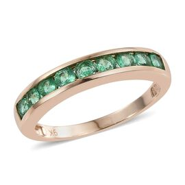 9K Y Gold Boyaca Colombian Emerald (Rnd) Half Eternity Band Ring 1.000 Ct.