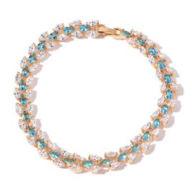 Water Fall Collection Aquamarine Colour and Simulated White Diamond Bracelet (Size 8) in Yellow Gold Tone