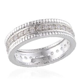 AAA Simulated Diamond (Rnd) Full Eternity Band Ring in Platinum Overlay Sterling Silver