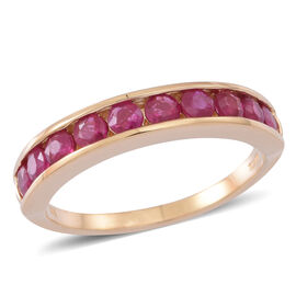 ILIANA 18K Y Gold AAAA Burmese Ruby (Rnd) Half Eternity Band Ring 1.250 Ct.