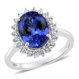 ILIANA 18K W Gold AAA Tanzanite (Ovl 3.80 Ct), Diamond (SI/G-H) Ring 4.250 Ct.
