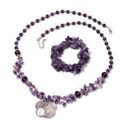 Amethyst and Simulated Iolite Necklace(Size 28) and Stretchable Bracelet 400.00 Ct