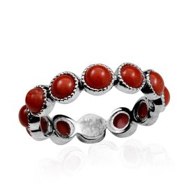 Natural Mediterranean Coral (Rnd) Full Eternity Ring in Platinum Overlay Sterling Silver 3.250 Ct.