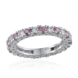 Pink Sapphire (Rnd), White Topaz Full Eternity Ring in Platinum Overlay Sterling Silver 1.650 Ct.