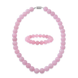 Brazilian Rose Quartz Beads Necklace (Size 18 with Magnetic Lock) and Stretchable Bracelet (Size 7.5) in Rhodium Plated Sterling Silver 600.00 Ct.