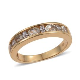 Natural Turkizite (Ovl), Natural Cambodian Zircon Half Eternity Ring in 14K Gold Overlay Sterling Silver 1.000 Ct.